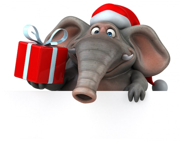 Spaß illustrierter elefant 3d, der eine geschenkbox hält