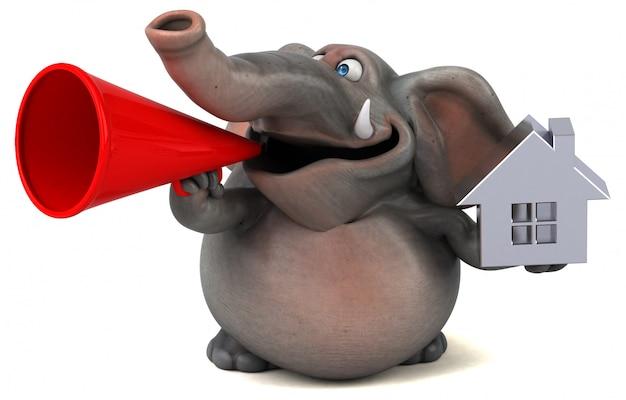 Spaß illustrierter elefant 3d, der eine ikone eines hauses und eines megaphons hält