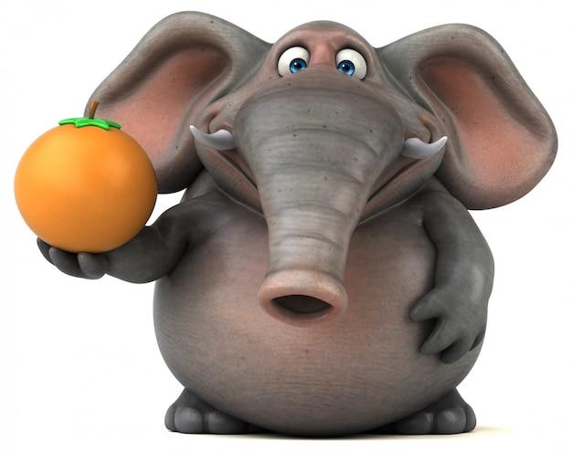 Spaß illustrierter elefant 3d, der eine orange hält