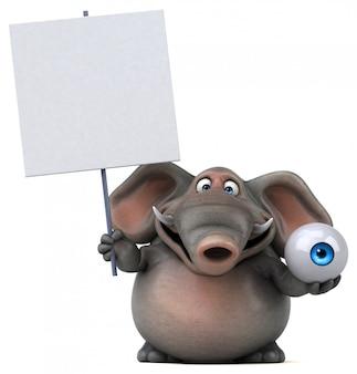 Spaß illustrierter elefant 3d, der einen augapfel und ein leeres plakat hält