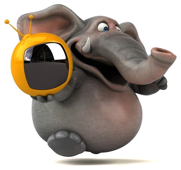 Spaß illustrierter elefant 3d, der einen fernseher hält