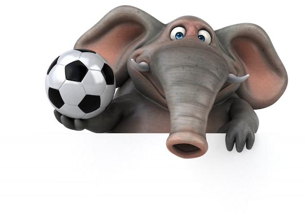 Spaß illustrierter elefant 3d, der einen fußball hält