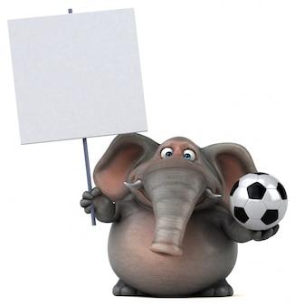 Spaß illustrierter elefant 3d, der einen fußball und ein leeres plakat hält