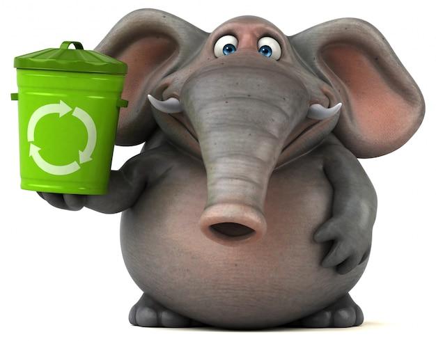 Spaß illustrierter elefant 3d, der einen papierkorb hält