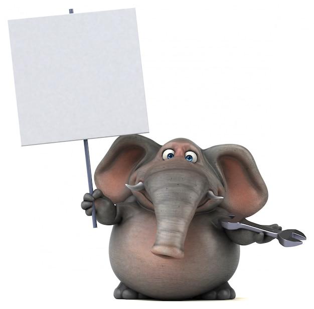 Spaß illustrierter elefant 3d, der einen schraubenschlüssel und ein leeres plakat hält