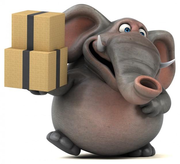 Spaß illustrierter elefant 3d, der einen stapel von kisten hält