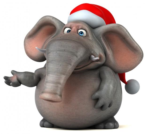Spaß illustrierter elefant 3d mit weihnachtsmütze