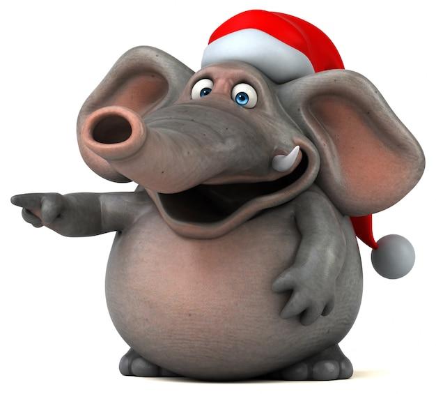 Spaß illustrierter elefant 3d mit weihnachtsmütze Premium Fotos