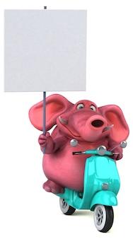 Spaß illustrierter rosa 3d-elefant, der ein plakat auf einem roller hält
