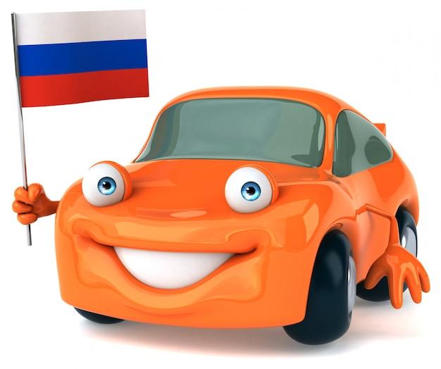 Spaß illustriertes auto, das die flagge von russland hält