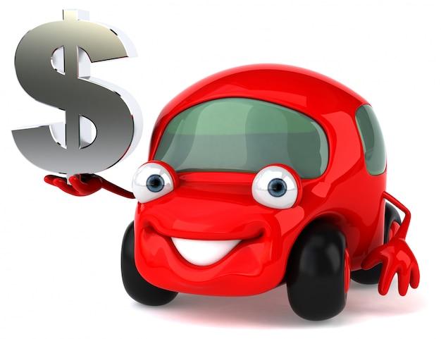 Spaß illustriertes auto, das dollarzeichen hält