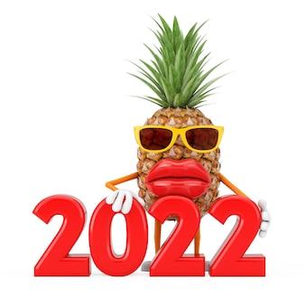 Spaß-karikatur-mode-hipster-schnitt-ananas-person-charakter-maskottchen mit 2022 neujahrszeichen auf weißem hintergrund. 3d-rendering