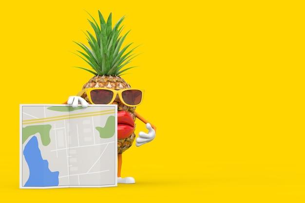 Spaß-karikatur-mode-hipster-schnitt-ananas-person-charakter-maskottchen mit abstrakter stadtplan-karte auf einem gelben hintergrund. 3d-rendering