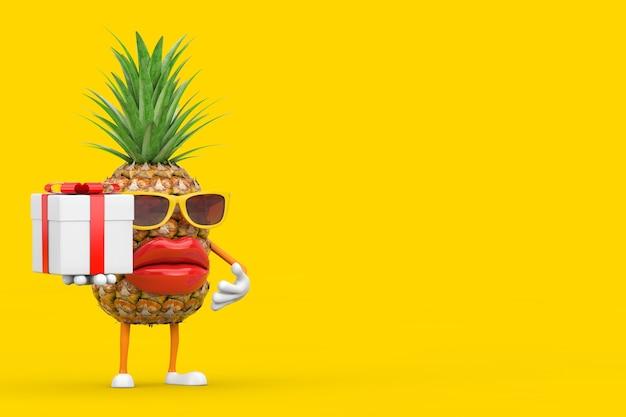 Spaß-karikatur-mode-hipster-schnitt-ananas-person-charakter-maskottchen mit geschenkbox und rotem band auf gelbem hintergrund. 3d-rendering