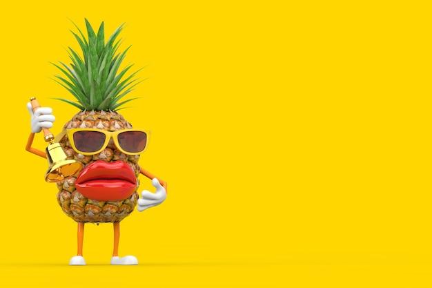 Spaß-karikatur-mode-hipster-schnitt-ananas-person-charakter-maskottchen mit weinlese-goldener schulglocke auf einem gelben hintergrund. 3d-rendering