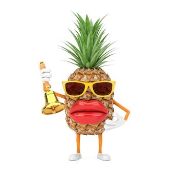 Spaß-karikatur-mode-hipster-schnitt-ananas-person-charakter-maskottchen mit weinlese-goldener schulglocke auf einem weißen hintergrund. 3d-rendering