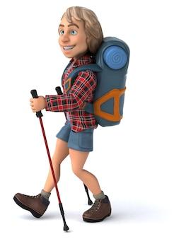 Spaß-rucksacktourist mit gehstöcken 3d-illustration