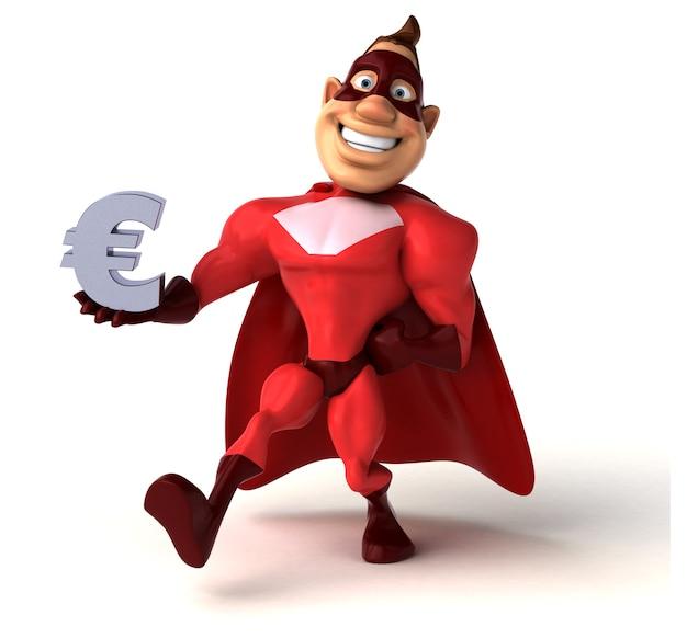 Spaß-superheld, der das euro-zeichen hält