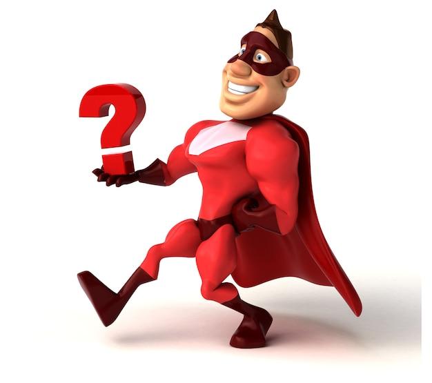 Spaß-superheld, der ein fragezeichen hält