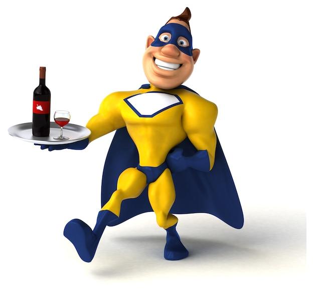 Spaß-superheld, der eine flasche wein hält