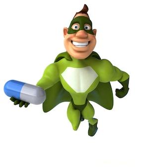 Spaß-superheld, der eine medizinische pille hält