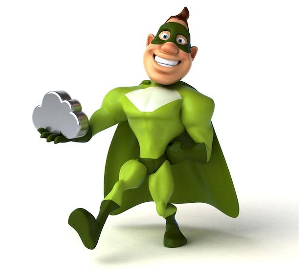Spaß-superheld, der eine silberne wolke hält