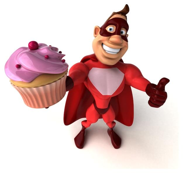 Spaß-superheld, der einen cupcake hält