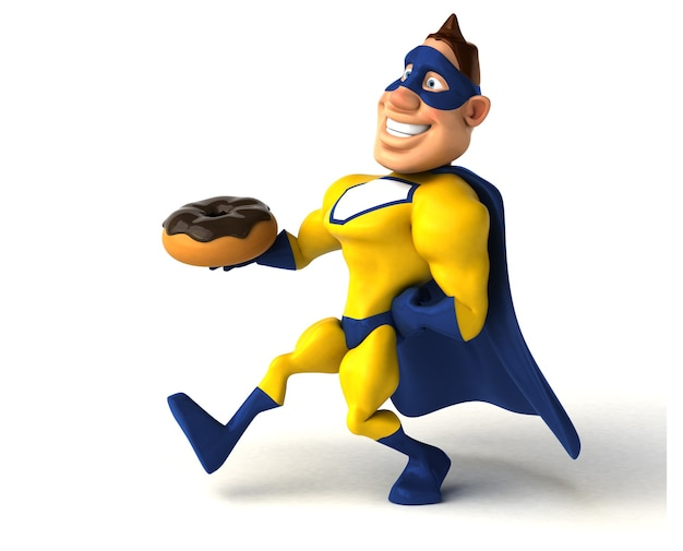 Spaß-superheld, der einen donut hält
