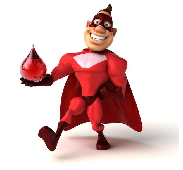 Spaß-superheld, der einen tropfen blut hält