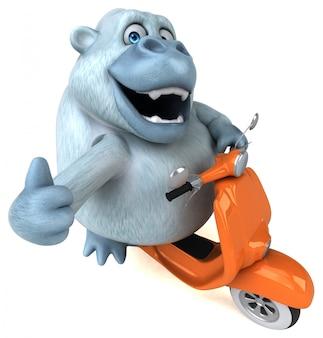 Spaß weiße gorilla 3d-illustration