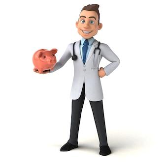 Spaßarzt, der ein sparschwein hält
