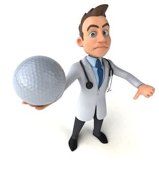 Spaßarzt, der einen golfball hält