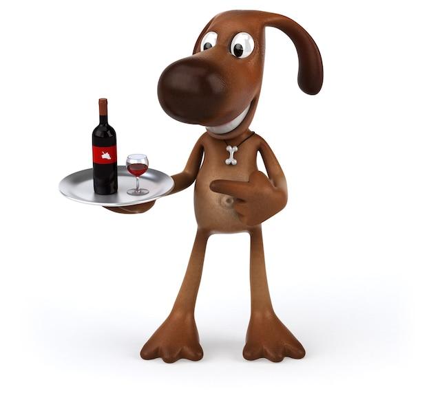 Spaßhund, der eine flasche rotwein hält