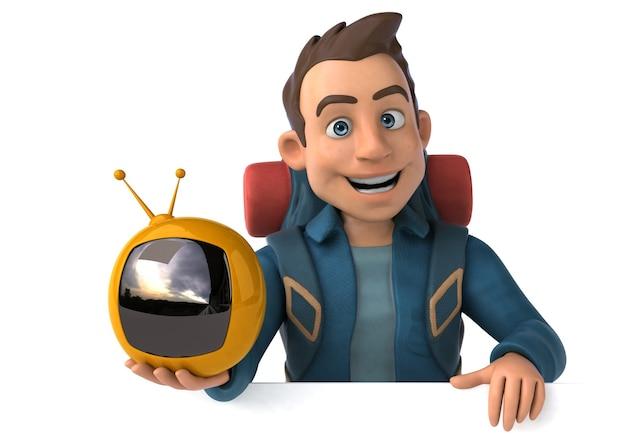 Spaßillustration eines 3d-cartoon-rucksacktouristen
