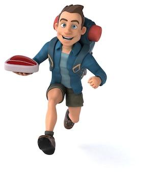 Spaßillustration eines cartoon-rucksacktouristen