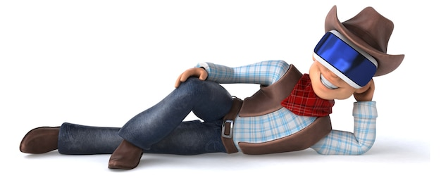 Spaßillustration eines cowboys mit einem vr-helm