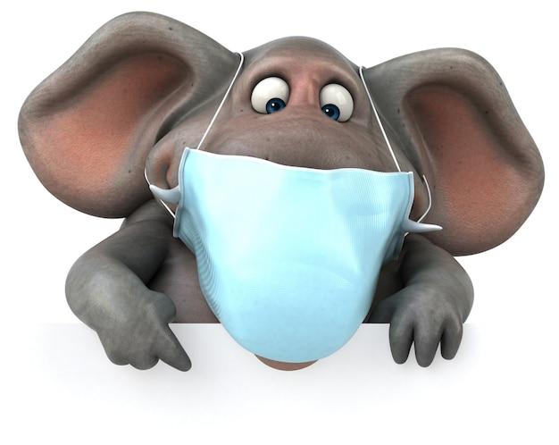 Spaßillustration eines elefanten mit einer maske