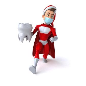 Spaßillustration eines karikatur-weihnachtsmanns mit einer maske