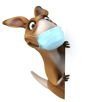 Spaßkarikatur-känguru mit einer maske