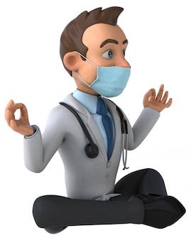 Spaßkarikaturdoktorfigur mit einer maske
