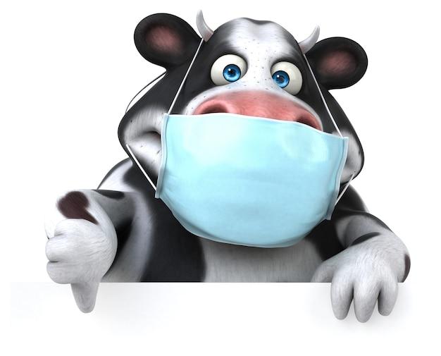 Spaßkarikaturkuh mit einer maske