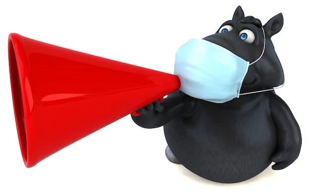 Spaßkarikaturpferd mit einer maske