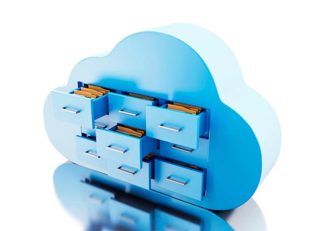Speicher der datei 3d in der wolke. cloud-computing-konzept.