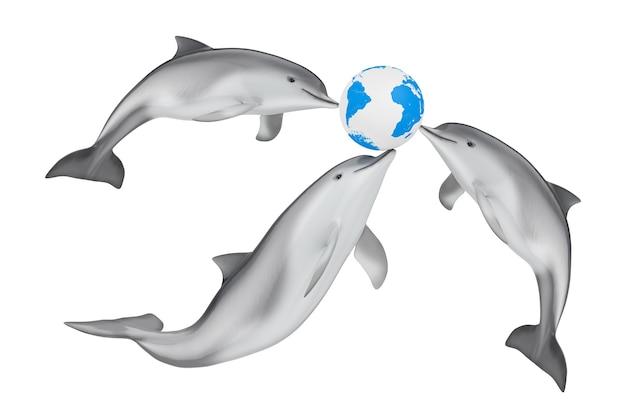 Speichern sie das erdkonzept. tursiops truncatus ocean oder sea bottlenose dolphins spielen mit earth globe auf weißem hintergrund. 3d-rendering