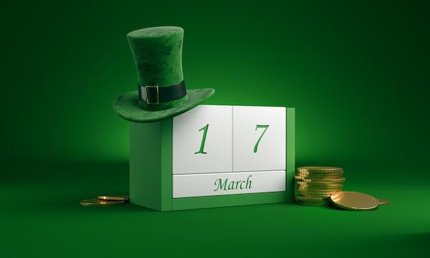 Speichern sie den datumskalender für den weißen block für den st. patrick's day am 17. märz mit koboldhut und goldschatz auf grün.