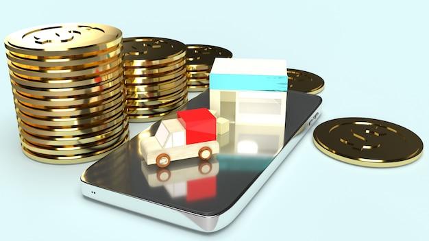 Speichern sie und packwagen-lkw-transport auf wiedergabe des handys und der goldmünze 3d für geschäftsinhalt.