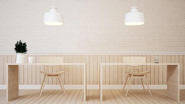 Speiseraum in der kaffeestube oder im haus - wiedergabe 3d