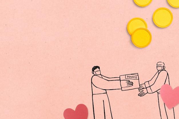 Spende von papierhandwerk während des covid-19-hintergrunds