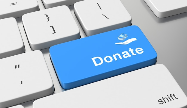 Spenden sie text auf tastaturtaste