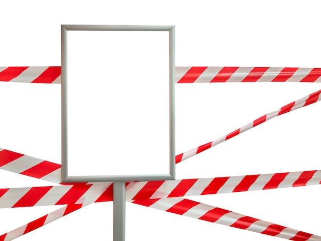 Sperrband und leeres schild isoliert. pass ist verboten, sicherheitsband. signalband, das den zutritt verbietet
